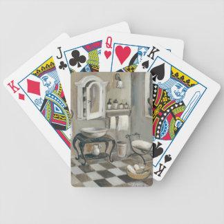 Cuarto de baño francés tejado blanco y negro baraja cartas de poker