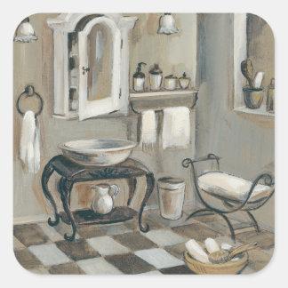 Cuarto de baño francés tejado blanco y negro pegatina cuadrada