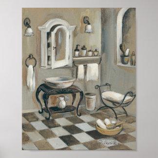 Cuarto de baño francés tejado blanco y negro póster