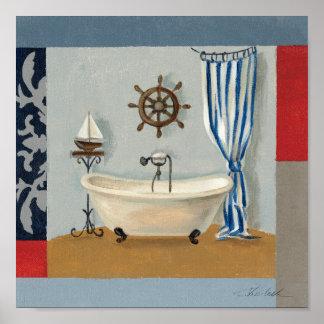 Cuarto de baño náutico póster