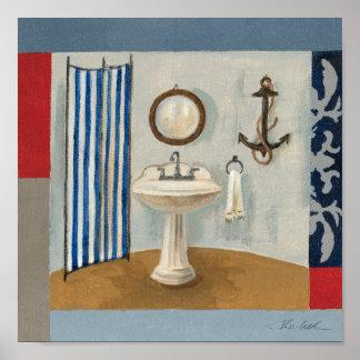 Cuarto de baño temático náutico póster