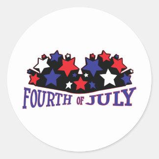 Cuarto de julio-julio de 4 1776 etiquetas redondas
