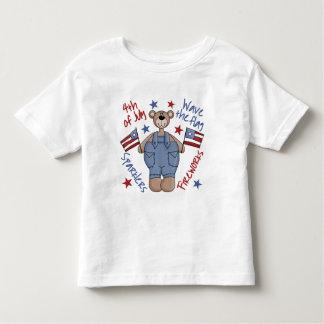 Cuarto de la camiseta del niño del oso de julio