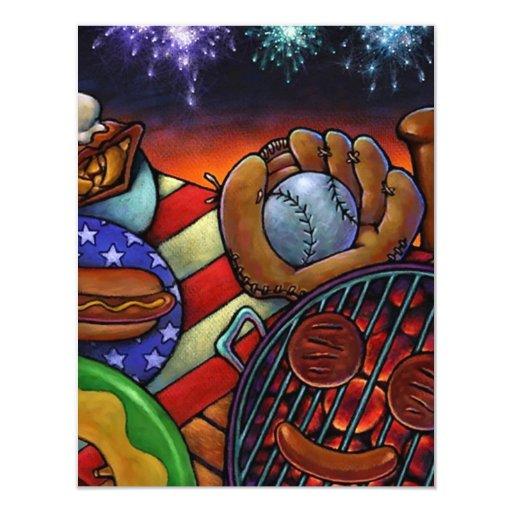 Cuarto de la parrilla americana de la barbacoa de invitación 10,8 x 13,9 cm