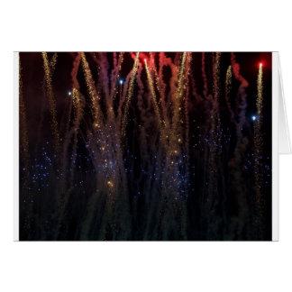 Cuarto de los fuegos artificiales de las luces de  tarjeta
