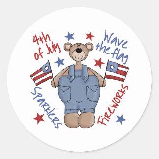 Cuarto de los pegatinas del oso de julio pegatina redonda