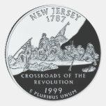 Cuarto de New Jersey Pegatina Redonda