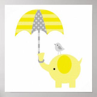 Cuarto de niños amarillo y gris del elefante y del póster