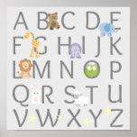 Cuarto de niños animal del alfabeto póster
