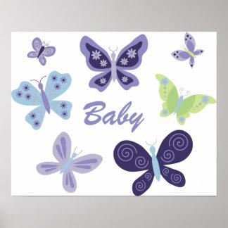 Cuarto de niños hermoso de las mariposas póster