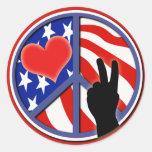 Cuarto del amor los E.E.U.U. de la paz de julio Pegatina Redonda