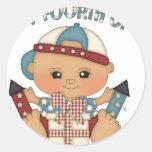 Cuarto del bebé de julio pegatina redonda