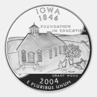 Cuarto del estado de Iowa Pegatina Redonda