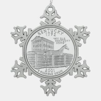 Cuarto del estado de Kentucky Adorno De Peltre En Forma De Copo De Nieve