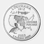 Cuarto del estado de Luisiana Pegatina Redonda