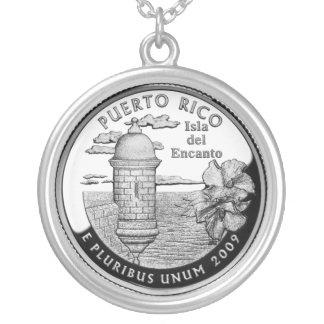 Cuarto del estado de Puerto Rico Colgante Redondo