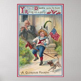 Cuarto del vintage del Doodle del yanqui de julio Posters