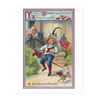 Cuarto del vintage del Doodle del yanqui de julio Postal