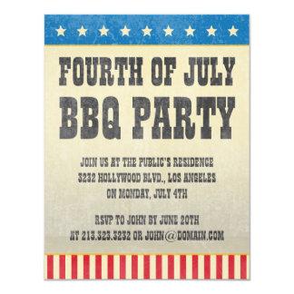 """Cuarto del vintage del fiesta americano del Bbq de Invitación 4.25"""" X 5.5"""""""