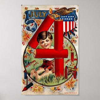 Cuarto del vintage del muchacho de julio con la im poster
