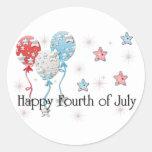 Cuarto feliz de los globos de julio/de los pegatina redonda