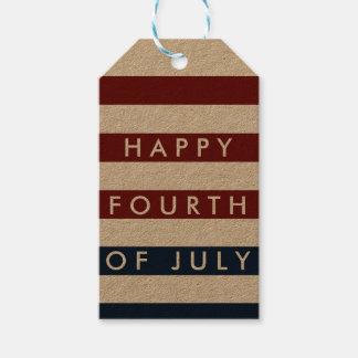 Cuarto moderno de las rayas de julio etiquetas para regalos
