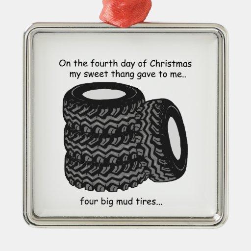 Cuarto navidad del campesino sureño del día adorno navideño cuadrado de metal