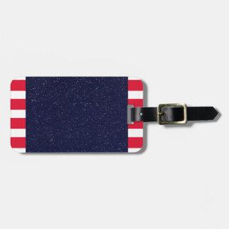Cuarto patriótico de la bandera americana del etiqueta de equipaje