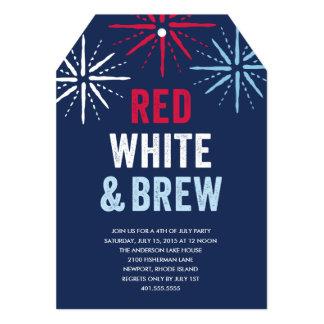 """Cuarto rojo del blanco y del Brew de julio Invitación 5"""" X 7"""""""