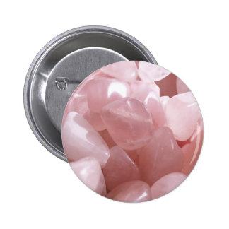 Cuartos de galón color de rosa de cristal rosado e pin redondo de 2 pulgadas