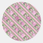 Cuarzo Amethyst, color de rosa y esmeralda Pegatina Redonda
