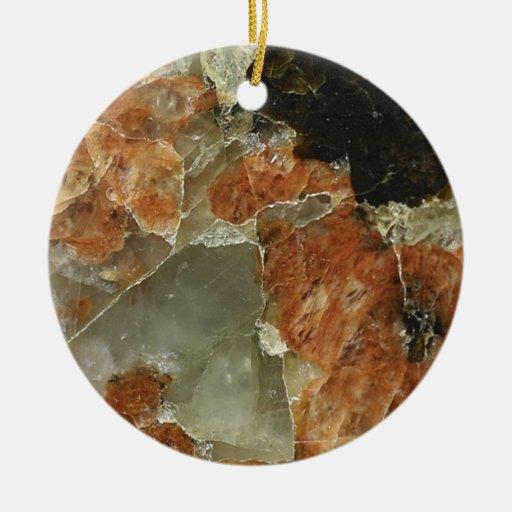 Cuarzo del naranja, negro y claro adorno navideño redondo de cerámica