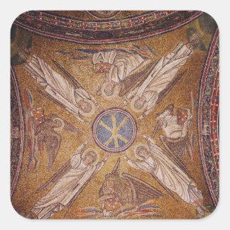 Cuatro ángeles con los símbolos del calcomanía cuadradas