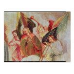 Cuatro ángeles que tocan los instrumentos tarjetas postales