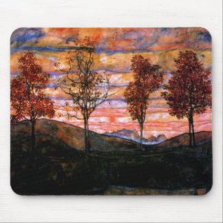 Cuatro árboles de Egon Schiele Mouse Pad