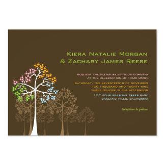 """Cuatro árboles de las estaciones en Brown Invitat Invitación 5"""" X 7"""""""