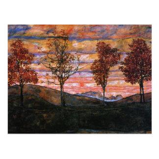 Cuatro árboles postal