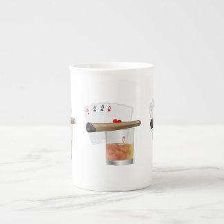 Cuatro as y un cigarro taza de porcelana