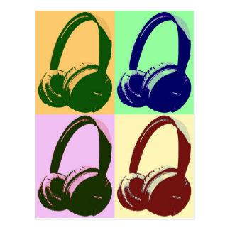 Cuatro auriculares del arte pop de los colores postal