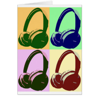 Cuatro auriculares del arte pop de los colores tarjeta de felicitación