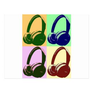 Cuatro auriculares del arte pop de los colores tarjetas postales