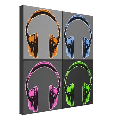 Cuatro auriculares gráficos impresión en lienzo estirada