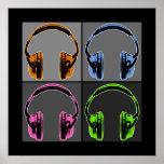 Cuatro auriculares gráficos impresiones
