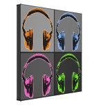 Cuatro auriculares gráficos lienzo envuelto para galerias