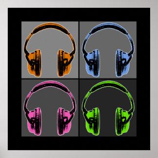 Cuatro auriculares gráficos póster