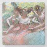 Cuatro bailarinas en la etapa (en colores pastel) posavasos de piedra