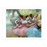 Cuatro bailarinas en la etapa (en colores pastel) tarjeta postal
