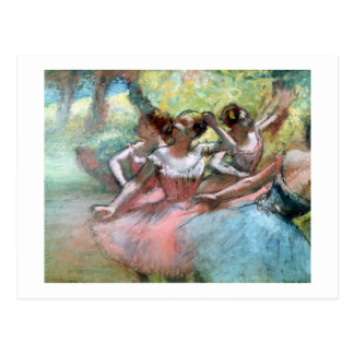 Cuatro bailarinas en la etapa (en colores pastel) tarjetas postales