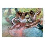 Cuatro bailarinas en la etapa tarjeta de felicitación