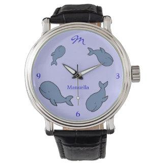 cuatro ballenas azules añaden nombre reloj de mano